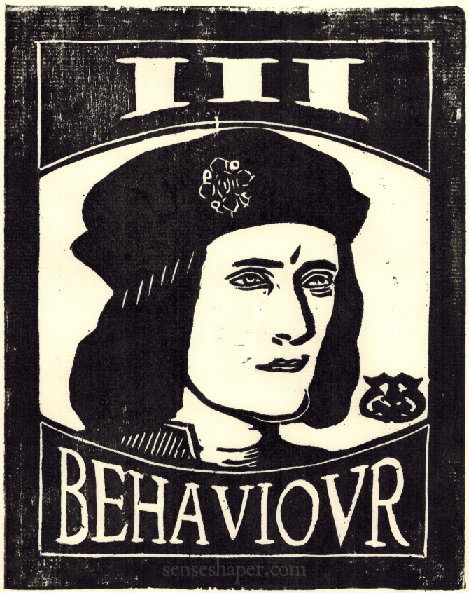 III Behavior Senseshaper Woodcut after a portrait of Richard III (Richard the Third).
