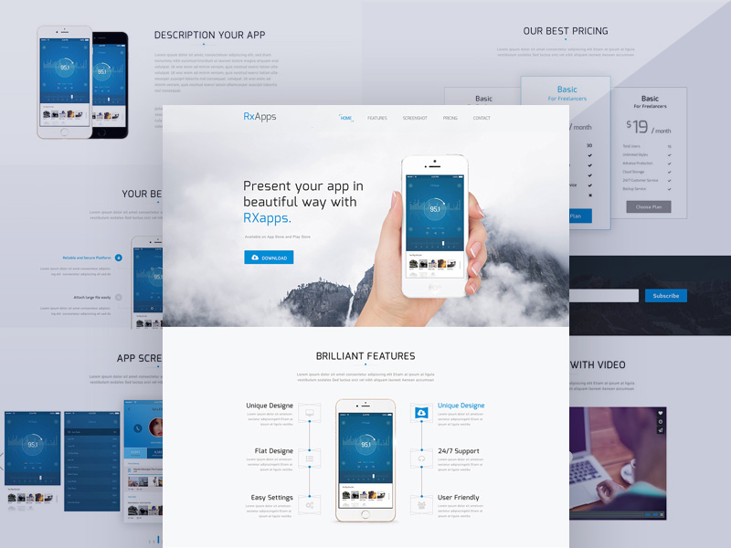Modern App Landing Page Template Free PSD \u2013 Free Cracked Nulled Seo