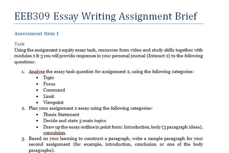 Eeb309 Essay Writing Assignment Assignment Help Australia
