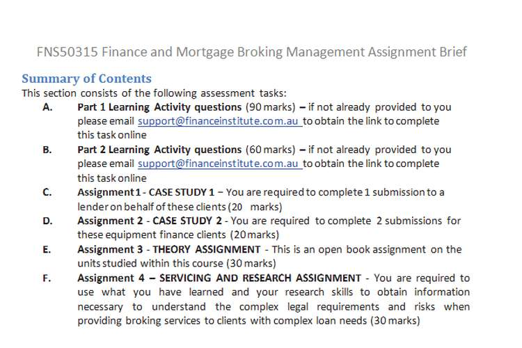 FNS50315 Finance Mortgage Broking Management Assignment Brief