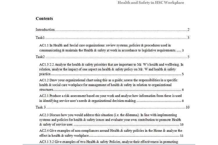 Unit 3 Health and Safety in HSC Workplace Assignment - Locus Help
