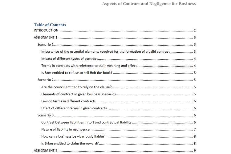 Unit 5 Aspects of Contract and Negligence Assignment - assignment of contract