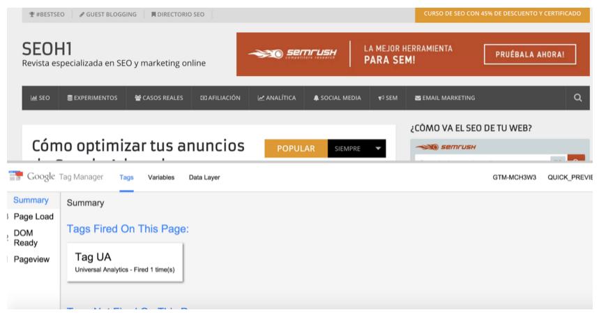Vista previa de Google Tag Manager en la web