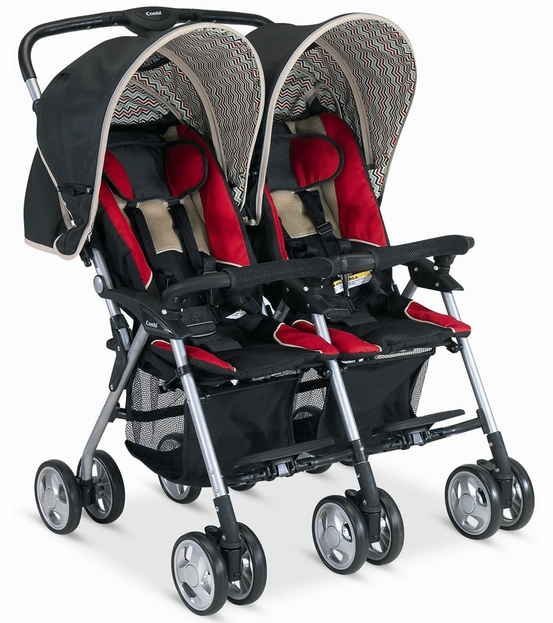 Twin Stroller Brands Combi Twin Savvy E Stroller Red Chevron