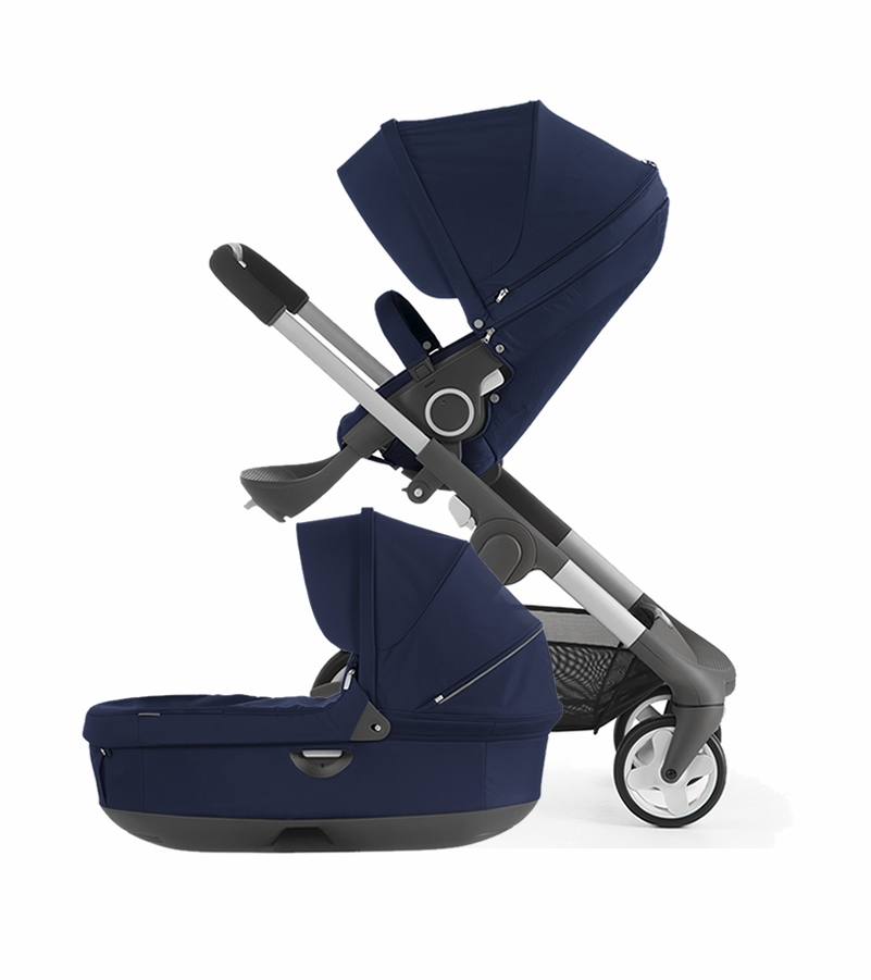 Kinderwagen Stokke Trailz Black Melange Stokke Crusi Carriage Deep Blue
