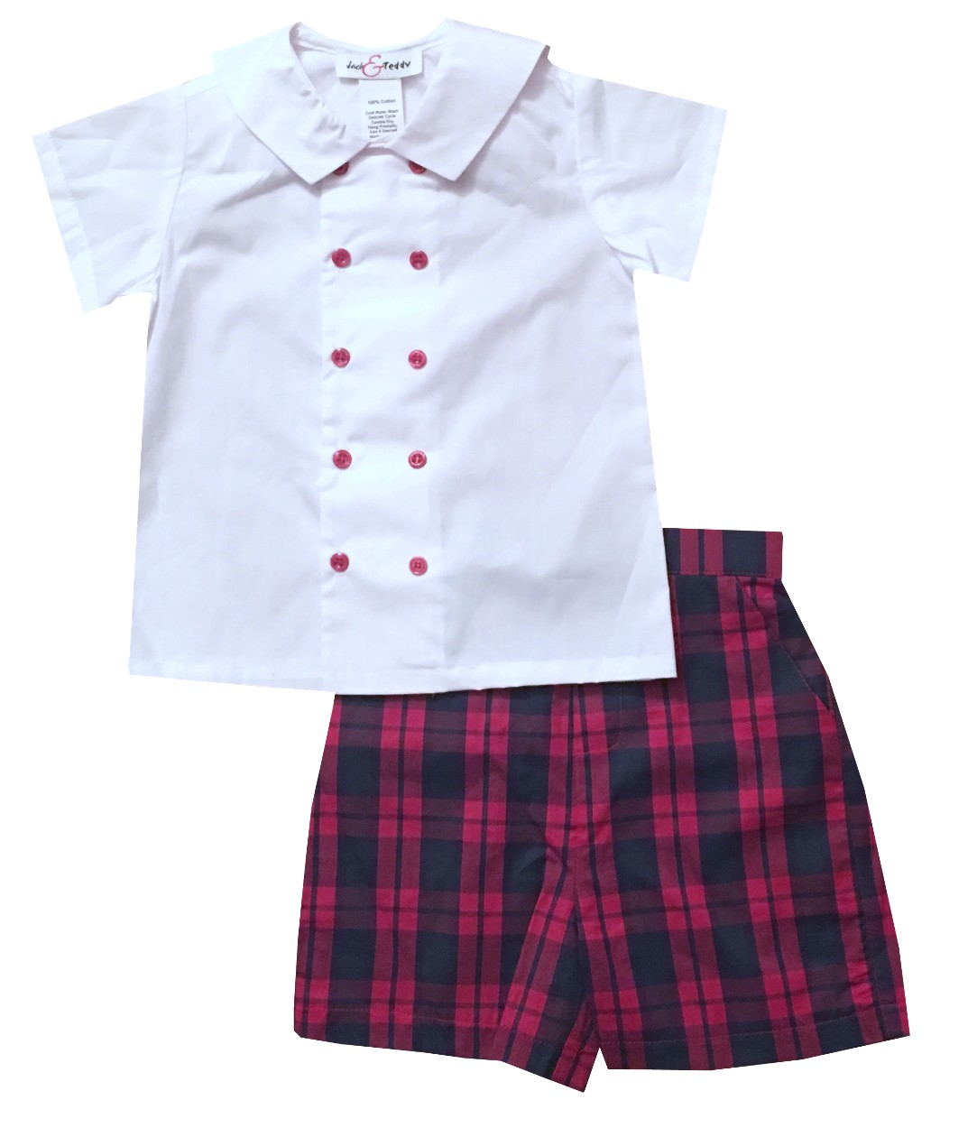 Teddy Plaid Jack Teddy Boy S White Double Breasted Blouse And Christmas