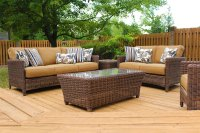Oceana Resin Wicker Pillow Back Outdoor Seating Group ...