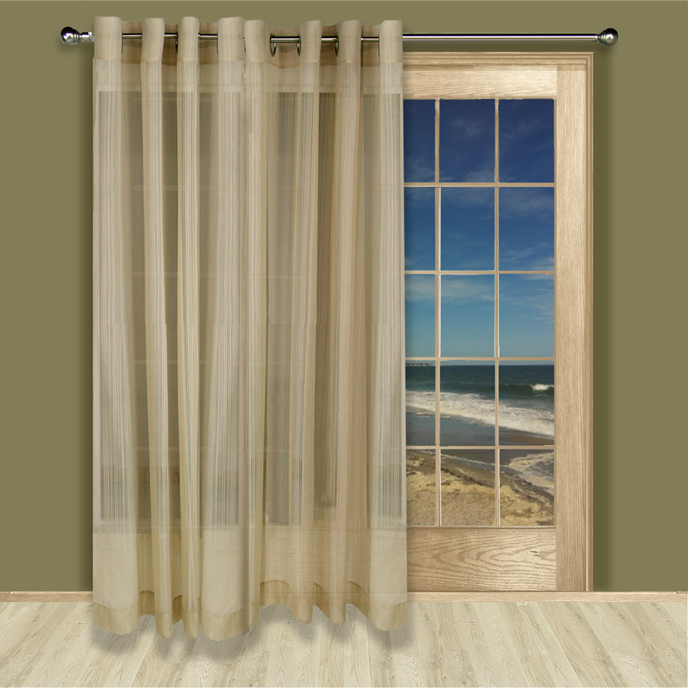 Thermal Patio Door Curtains With Grommets Atlantic Stripe Sheer Grommet Curtain Panel