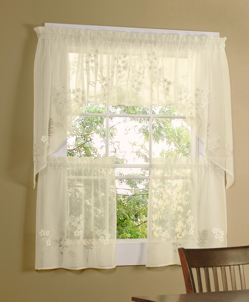 Floral Embroidered Semi Sheer Linen Kitchen Curtain Choice Tier Valance Or Swag