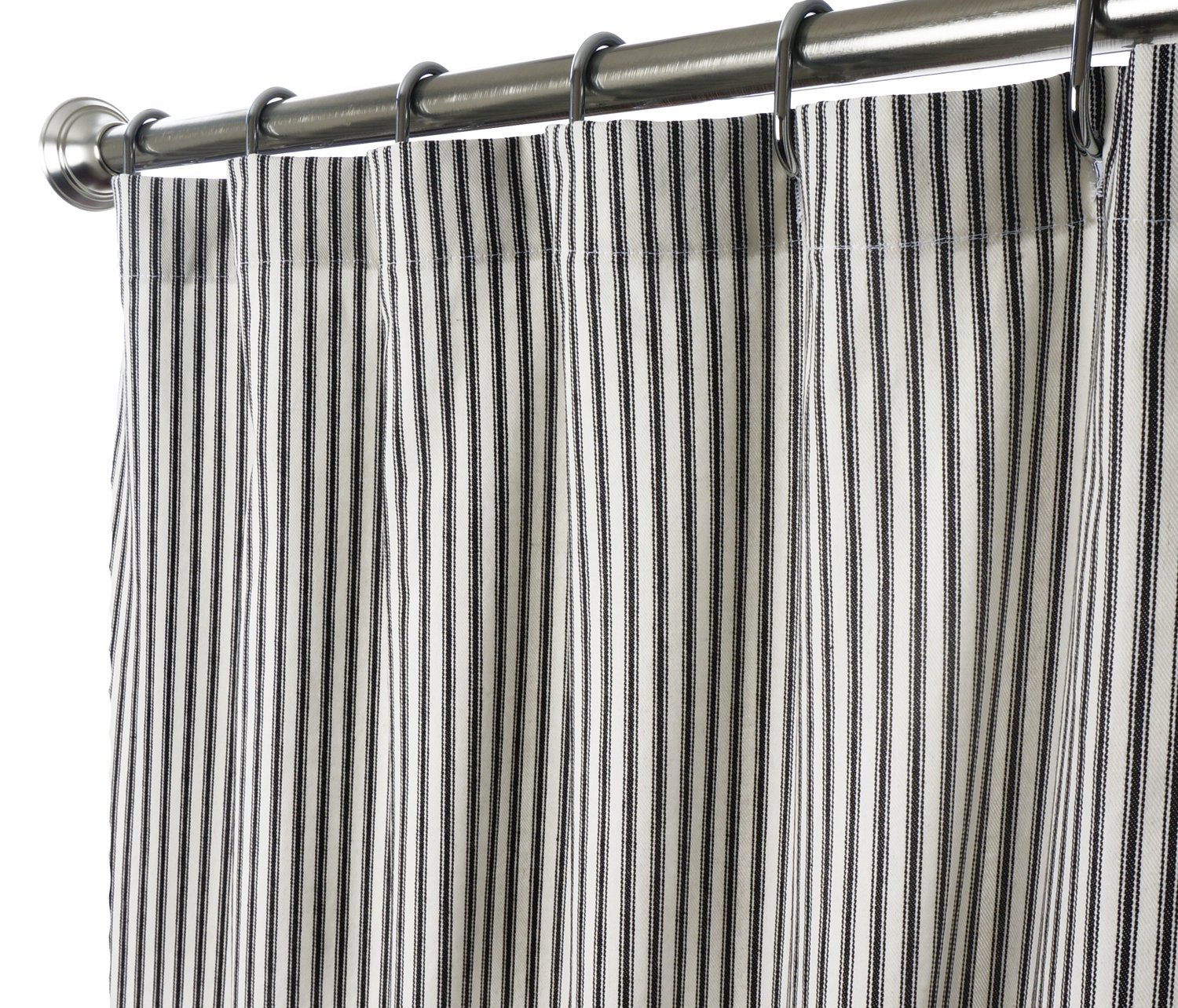 Fabric shower curtains ticking black click to enlarge