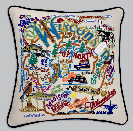 Cat Studio Embroidered State Pillow Wisconsin