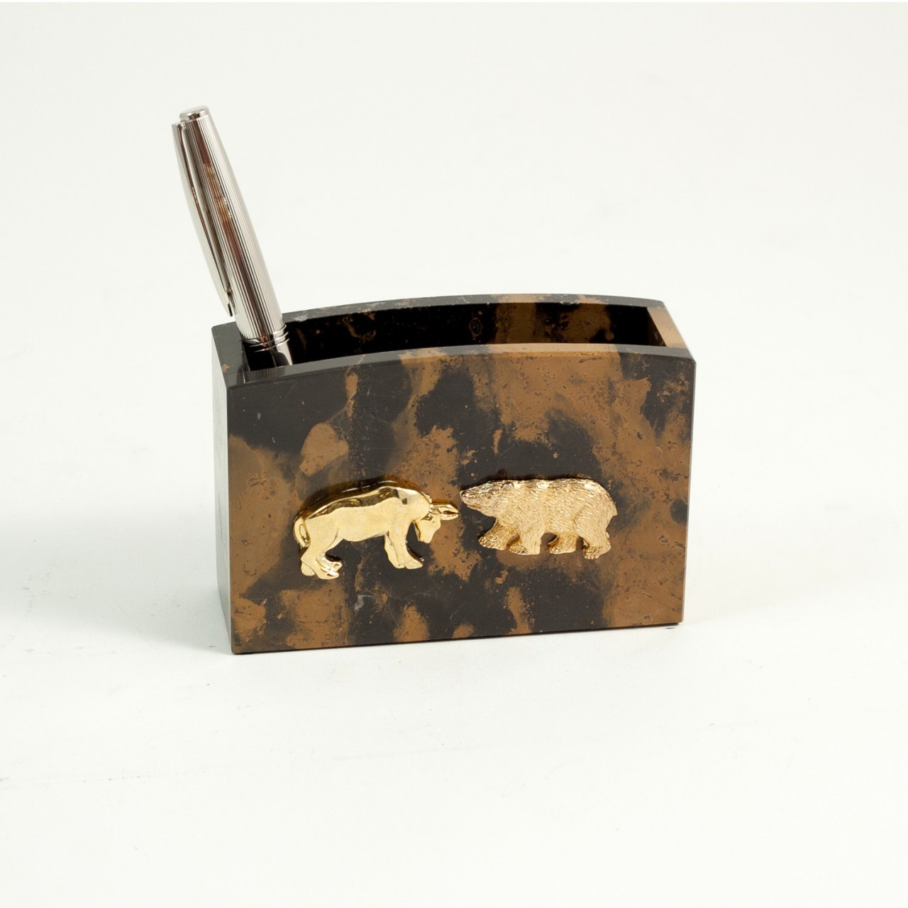 Bull And Bear Gifts Personalized Bull And Bear Pen And Pencil Cup Executive Gift