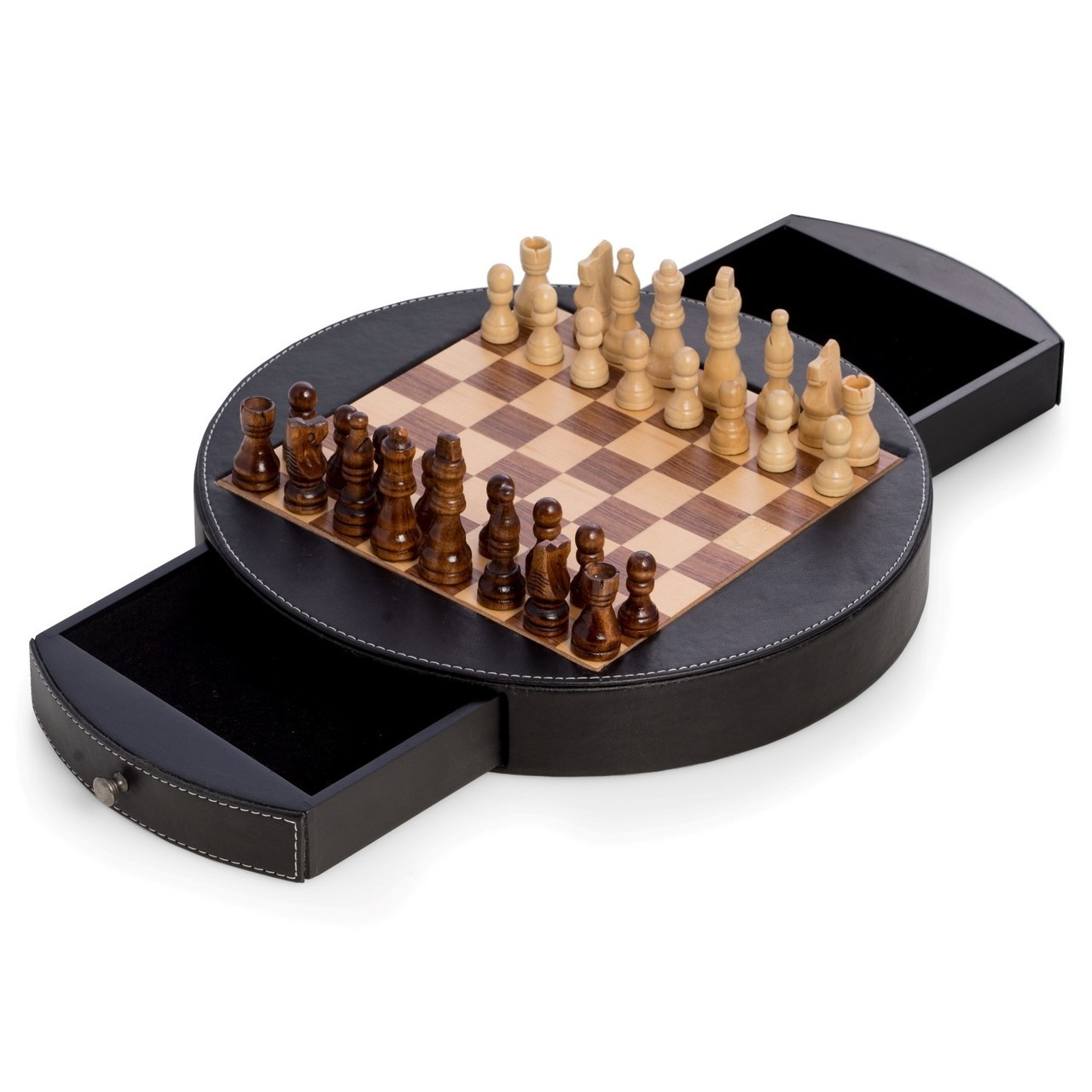 Round Chess Set Wood And Leather Round Chess Set Executive Gift Shoppe