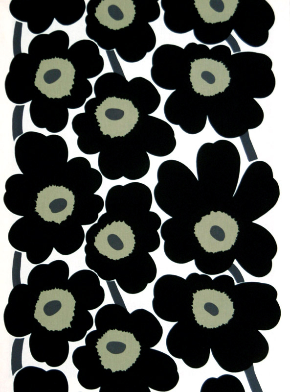 Black And White Home Wallpaper Marimekko Unikko Black White Cotton Fabric Marimekko
