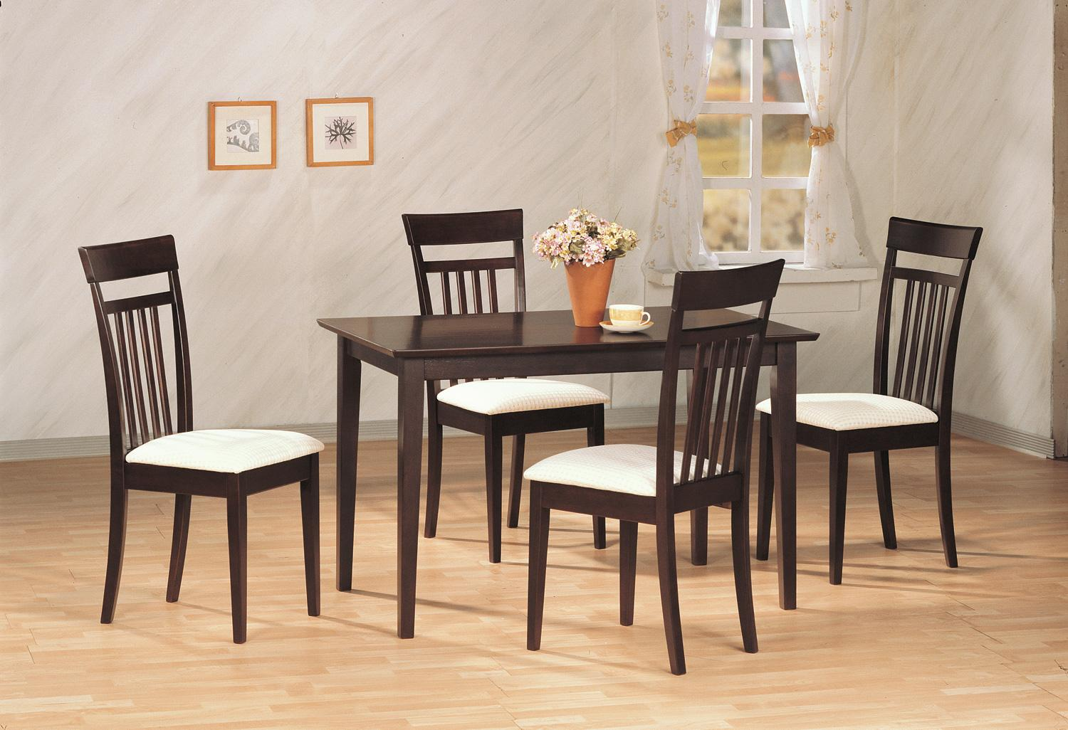 Classic 5 Pc Andrews Dining Set 4 Chairs And Table Coaster