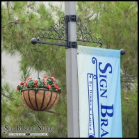 Lamp Post Banner Bracket Set w/ Scroll Artwork