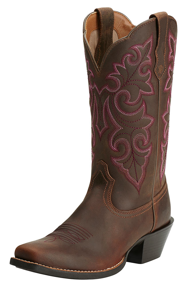 Ariat Womens Round Up Square Toe Cowboy Boots Powder Brown