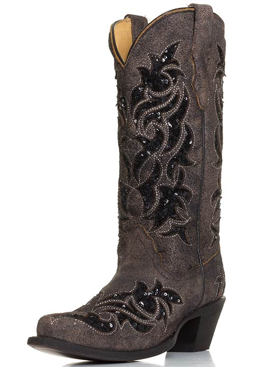 Corral Womens Sequin Inlay Western Snip Toe Cowboy Boots