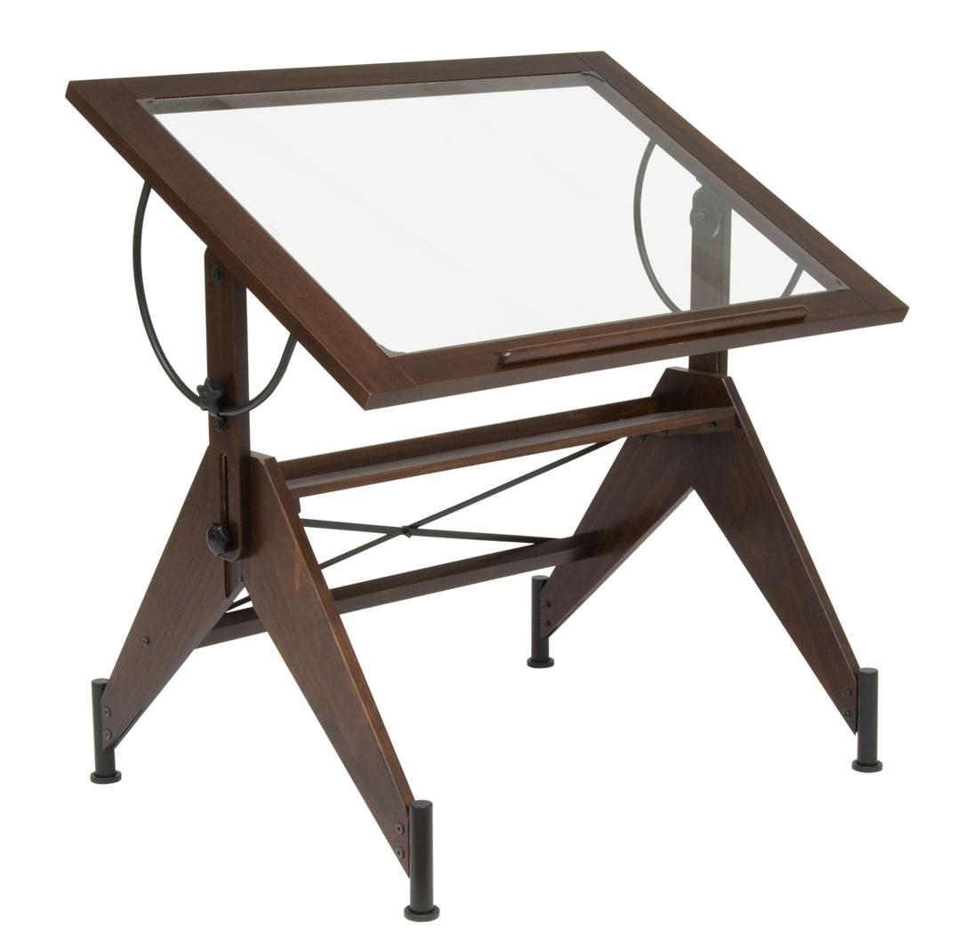 Adjustable Height Drafting Table Studio Designs Aries Glass Top Drafting Table Dark Walnut Champagne