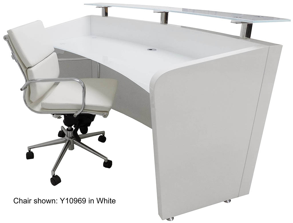 White Office Desk Modern High Gloss White Curved Reception Desk