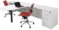 White 2-Person Shared Office Desk