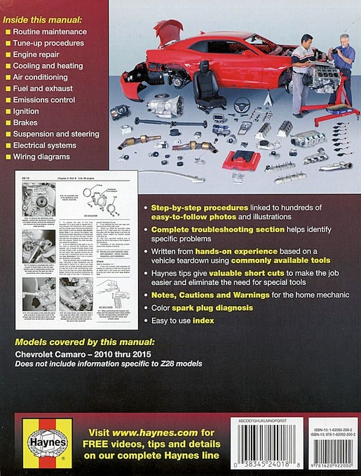 Chevrolet Camaro Repair Manual 2010-2015 Haynes 24018