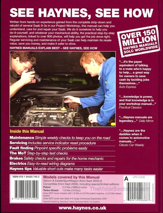 SAAB 9-3 Repair Manual 2002-2007 - Haynes 4749