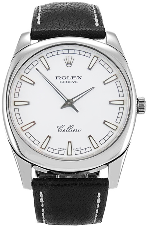 Silver Strap Watches For Men 4243/9 Rolex Cellini Mens 38mm White Gold Luxury Watch