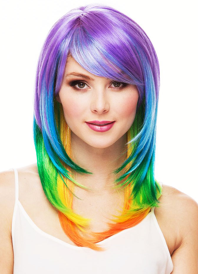 Red Hair Lounge Long Multi Color Layered Wig
