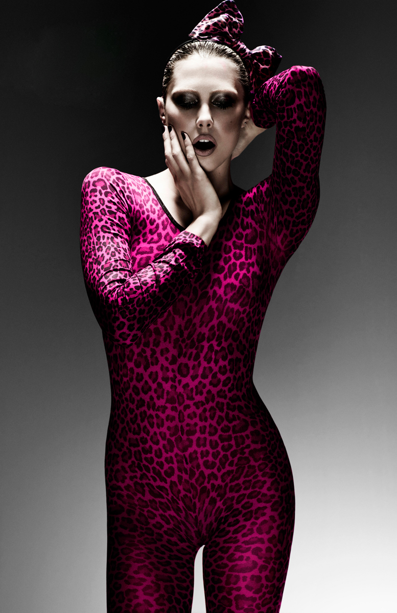 Red Hair Lounge Pink Leopard Bodysuit Bodystocking