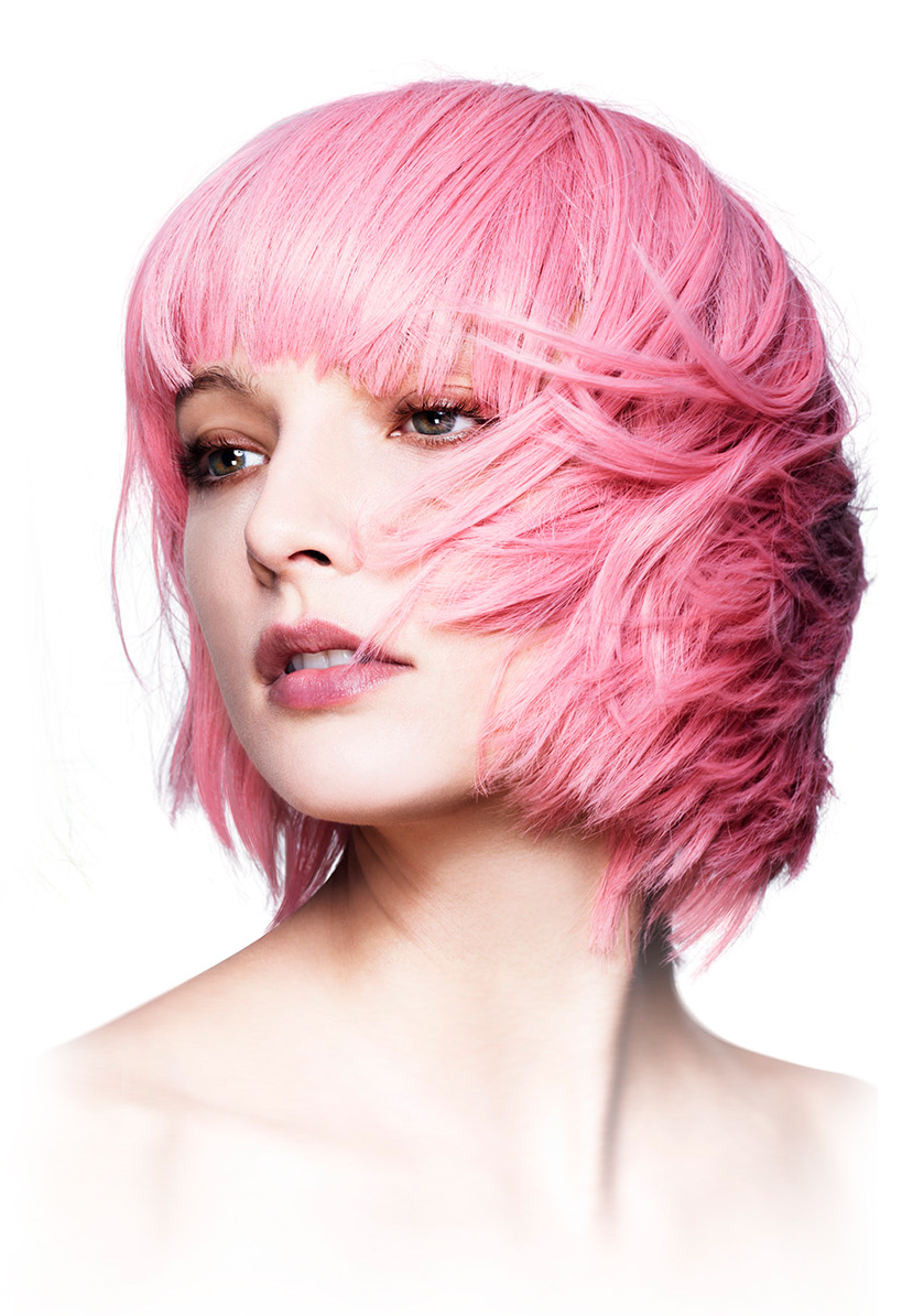 Short Wigs Real Hair Short Bob With Fringe Wig Mia In Pastel Pink