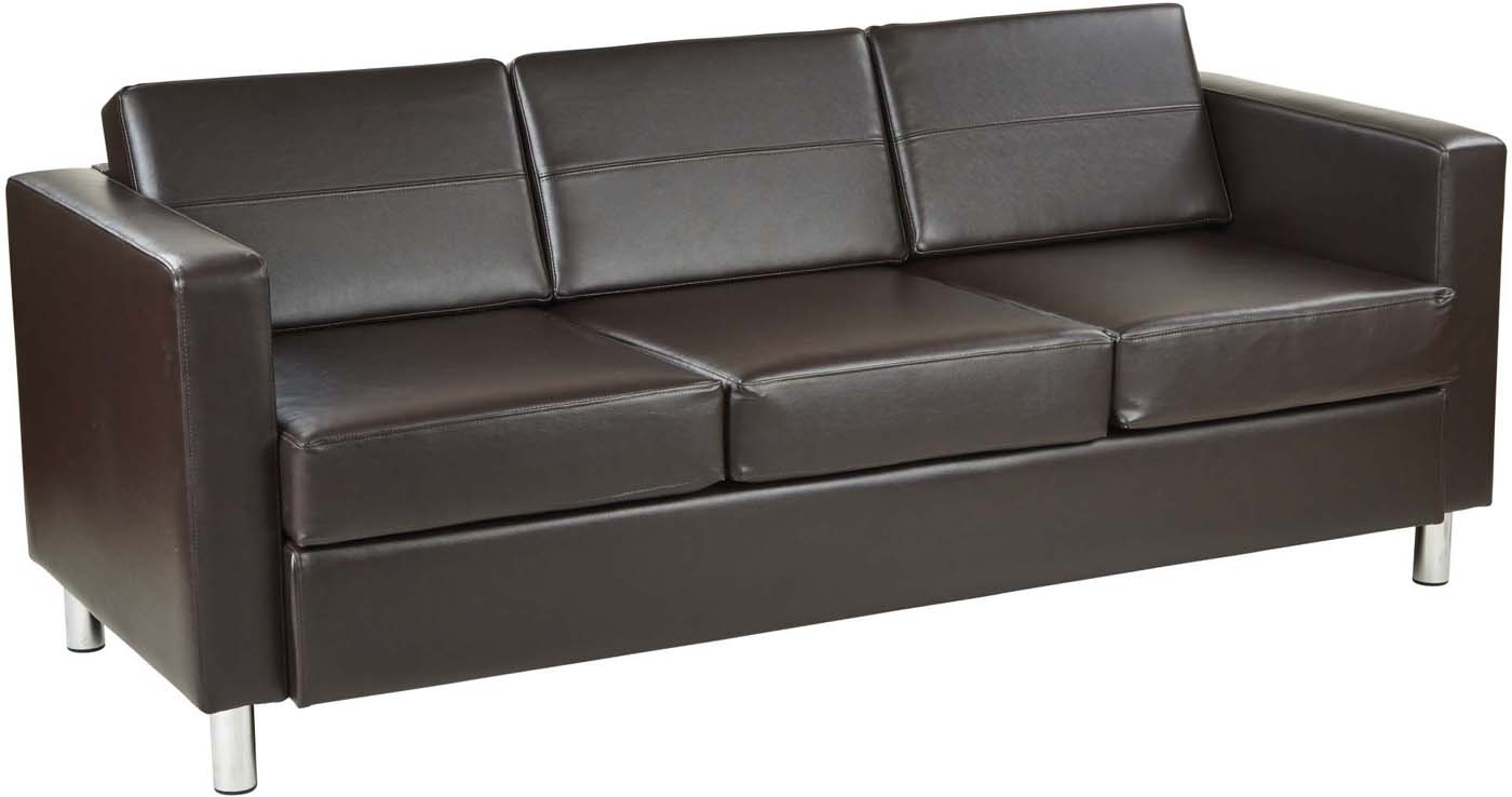 Faux Leather Sofa In A Box Ave Six Pacific Espresso Faux Leather Sofa Box Spring Seats Pac53 V34