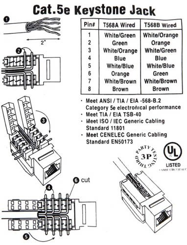 cat 5 wiring diagram wall jack keystone prise