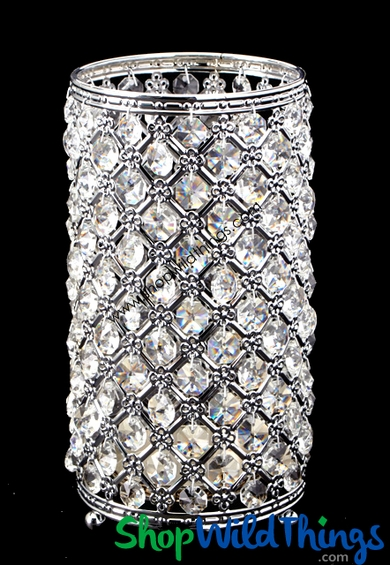 Crystal Beaded Candle Holder 10quot Vintage Silver