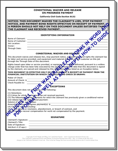 All Four California Lien Waiver Release Forms PLUS Two Free Bonuses - bond release form