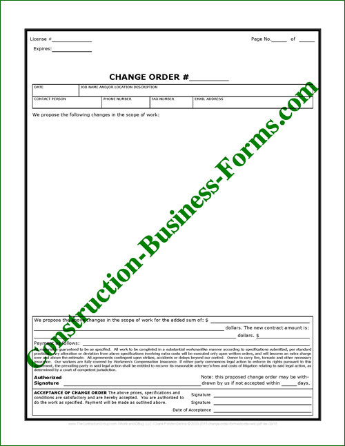 Builder\u0027s Documents Construction Change Order Forms