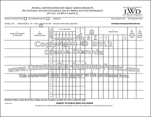 New Jersey Payroll Certification for Public Works Projects Form - certified payroll form