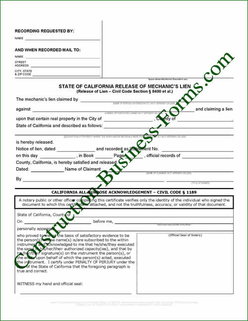 The State of California Mechanic\u0027s Construction Lien Release Form