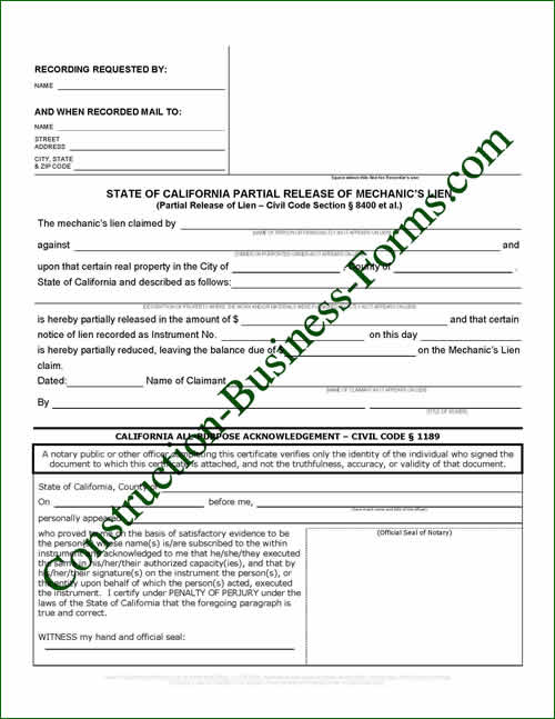 Calif Partial Release of Mechanic\u0027s Lien - release of lien form