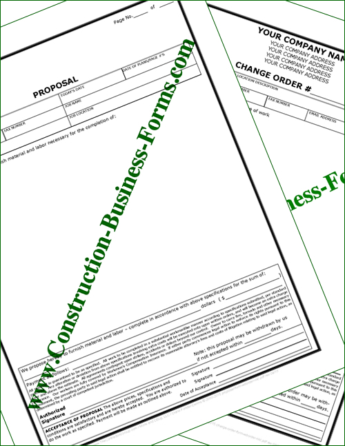 Construction Proposal and Change Order Forms Without Provision For