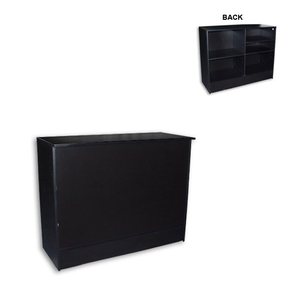 Low Cost FlatTop Cash Wrap Counter 48in Black