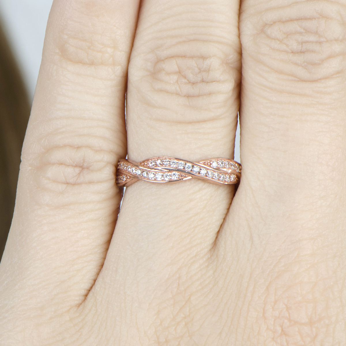 rose gold twisted band rose gold wedding rings Devera s Rose Gold Twisted CZ Wedding Ring Band