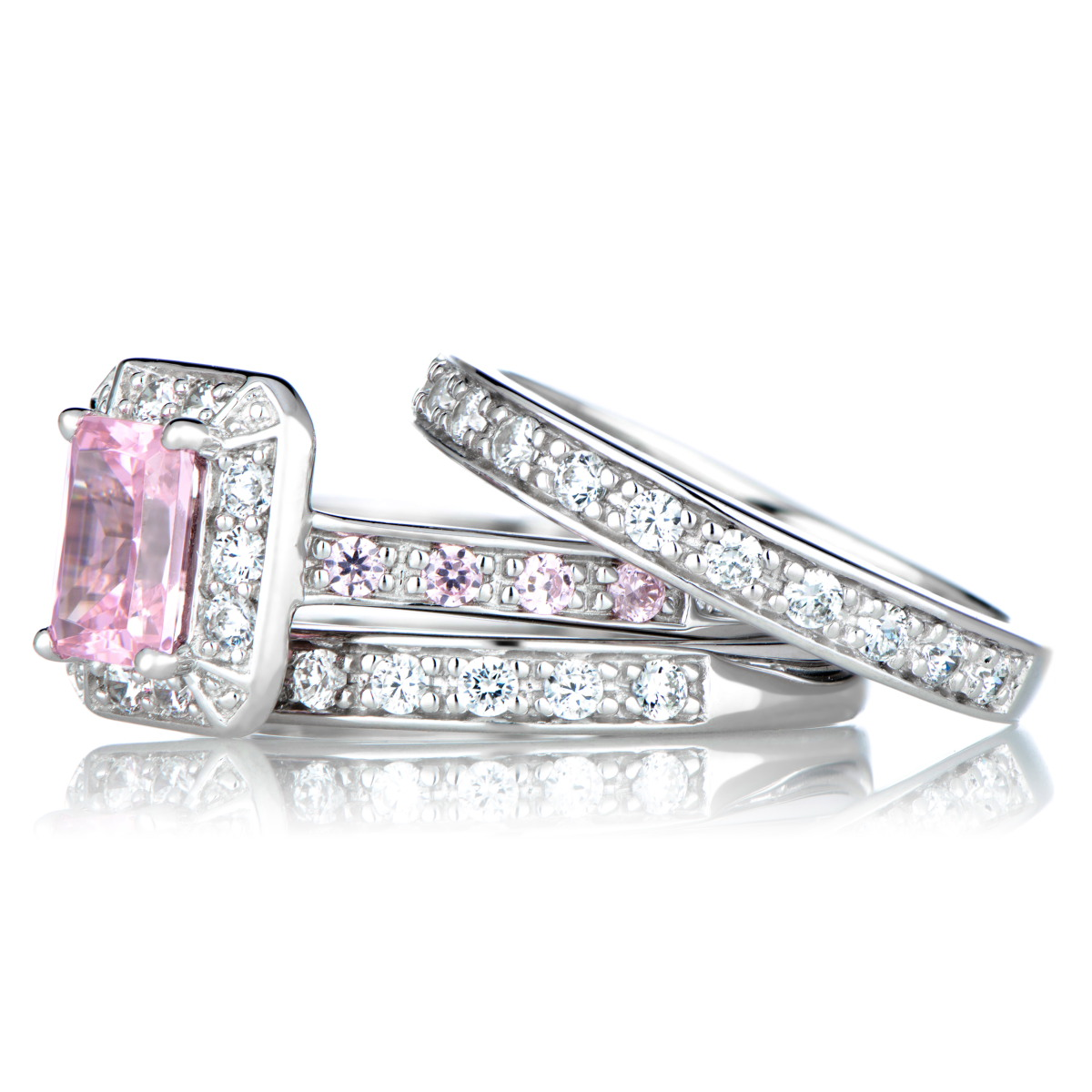 pink cz wedding ring set cubic zirconia wedding rings Pink Cubic Zirconia Wedding Ring Set