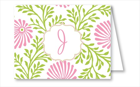 Lime/Pink Floral Note Cards - RosanneBECK Notecards - 20 styles!