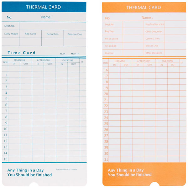2-Sided Monthly Attendance Cards 50 Punch Card Package