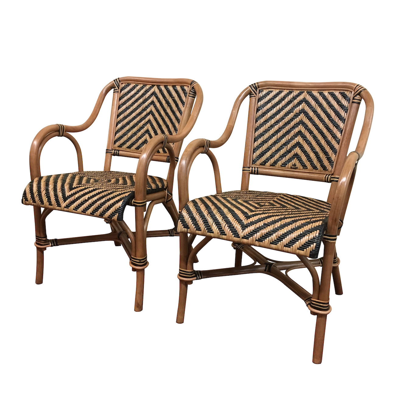 A Pair Of Safari Rattan Dining Arm Chairs Wicker Paradise