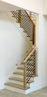 Modern Stair Railing - Contemporary Wood and Stainless ...