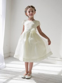 Ivory Girls Floral Lace Bodice Organza Dress