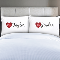 Personalized Couples His & Hers Pillow Cases - Monogram Online
