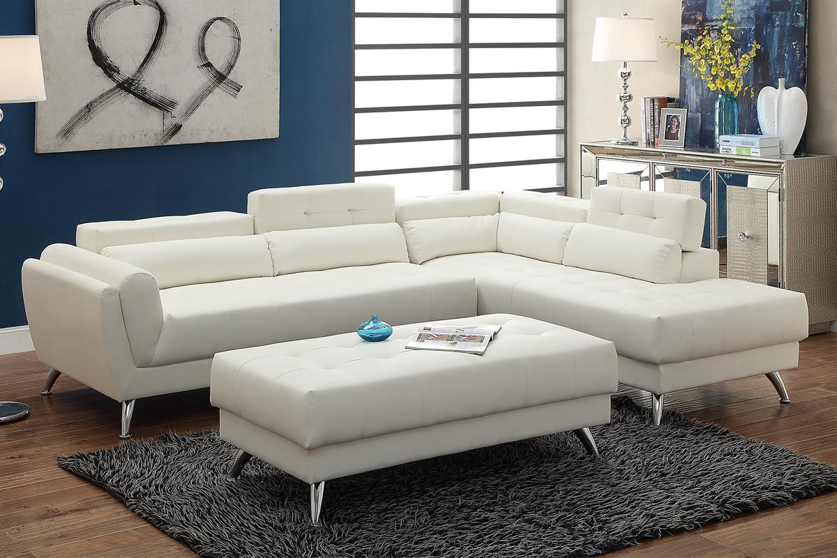 White Leather Couch Abela White Leather Sectional Sofa